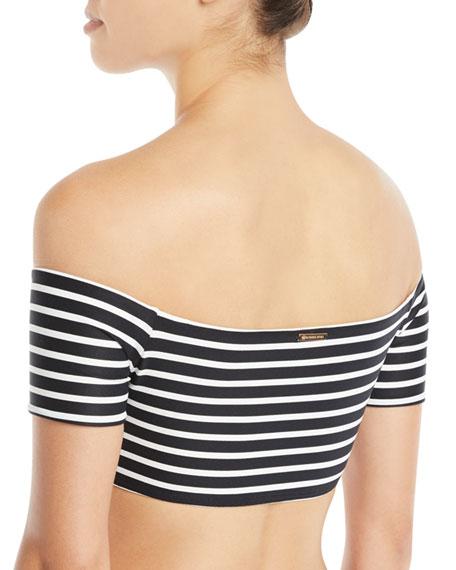 Off-the-Shoulder Striped Bandeau Bikini Swim Top
