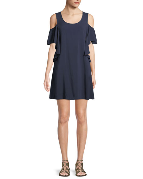 MICHAEL Michael Kors Cold-Shoulder Ruffle Coverup Dress
