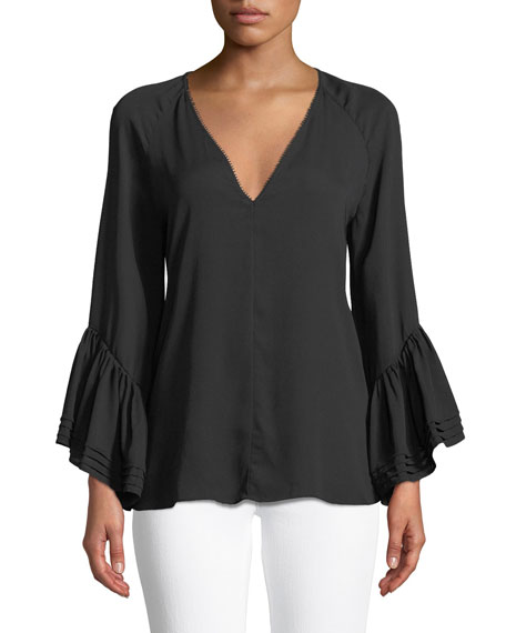 Ruched Long-Sleeve Silk Blouse