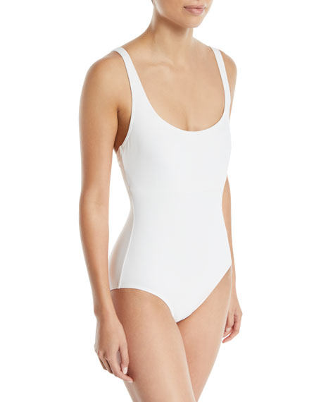 Lace-Up Scoop-Neck One-Piece Swimsuit