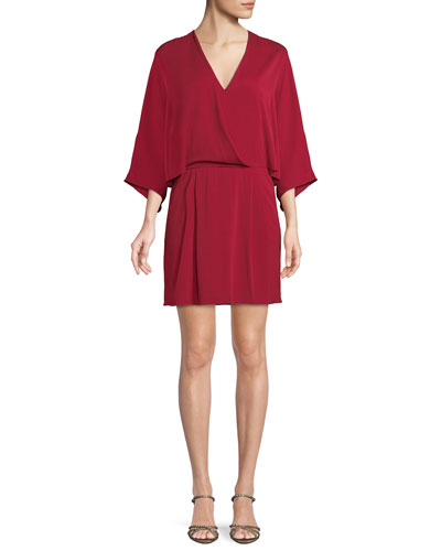 Halston Heritage Kimono Faux Wrap Fit And Flare Dress