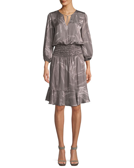 Halston Heritage Printed Fit-and-Flare Smocked Dress