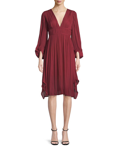Halston Heritage Flowy Bishop Sleeve Ruched Dress