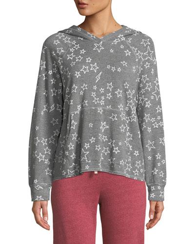 Cropped Star-Print Pullover Hoodie