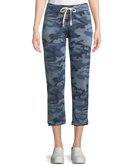Sundry Drawstring Blue Camo-Print Jogger Sweatpants