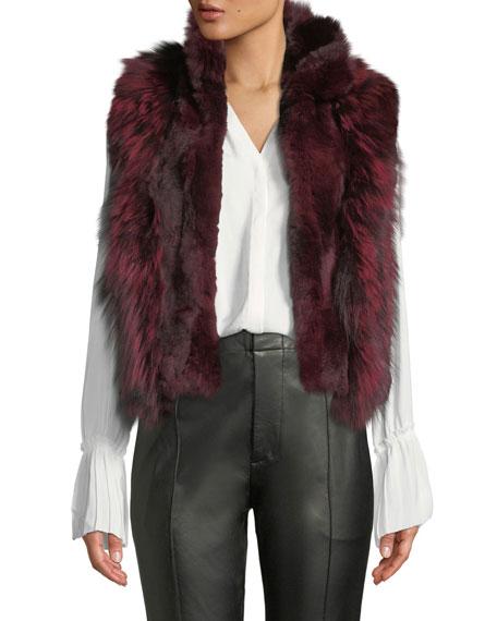 ADRIENNE LANDAU Short Fur Vest, Cranberry