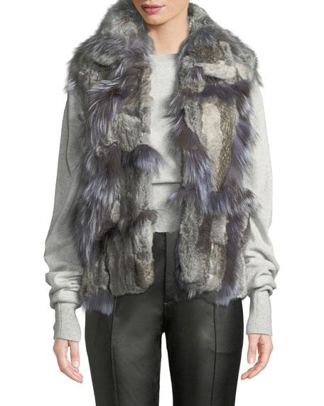 ADRIENNE LANDAU Short Patchwork Fur Vest in Natural/Gray