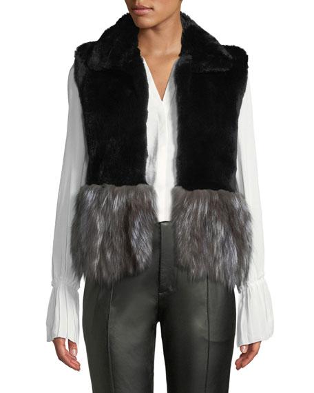ADRIENNE LANDAU Short Fur Vest W/ Contrast Fur Hem in Black