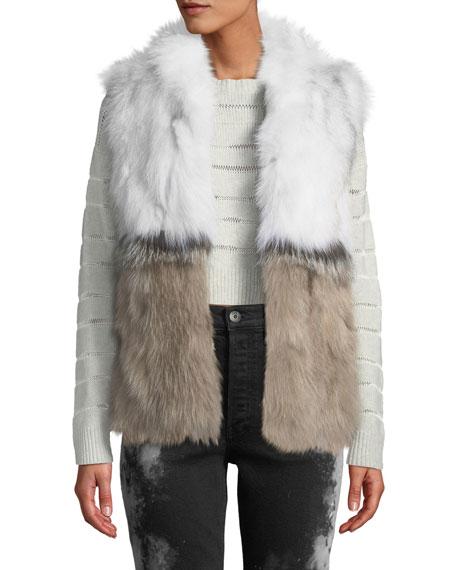 ADRIENNE LANDAU Colorblock Fur Vest, Multi