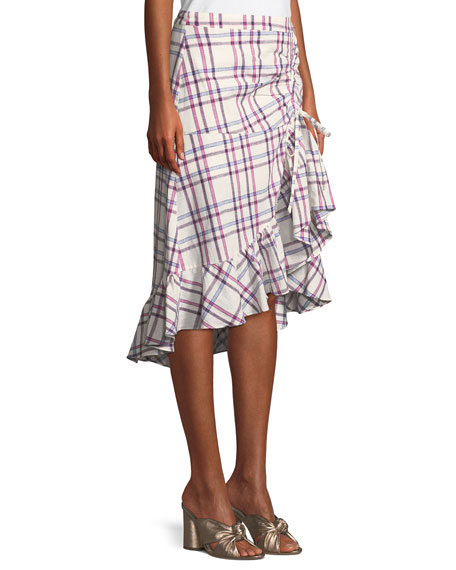 Kylie Check-Print Ruched Flounce Skirt