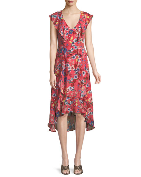 Annabel Floral Ruffle Silk Midi Dress