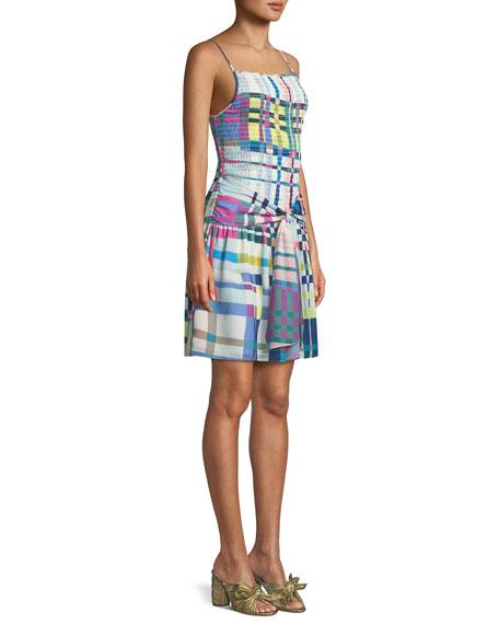 Sutton Check-Print Smocked Mini Dress