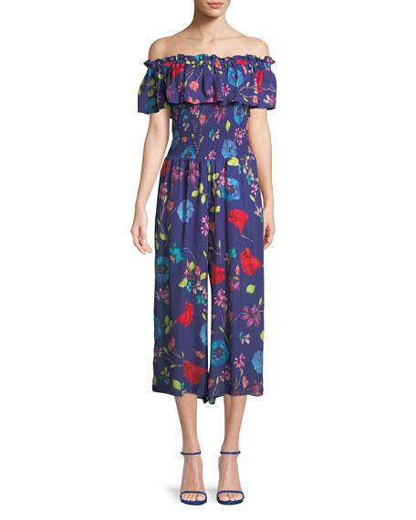 Janice Off-the-Shoulder Floral Wide-Leg Jumpsuit