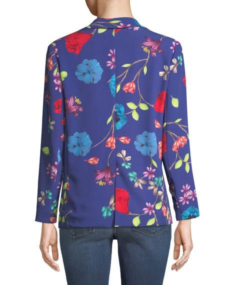Ginger One-Button Floral-Print Blazer