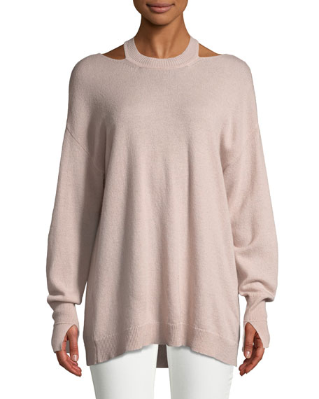 Halston Heritage Cashmere Cutout Long-Sleeve Sweater