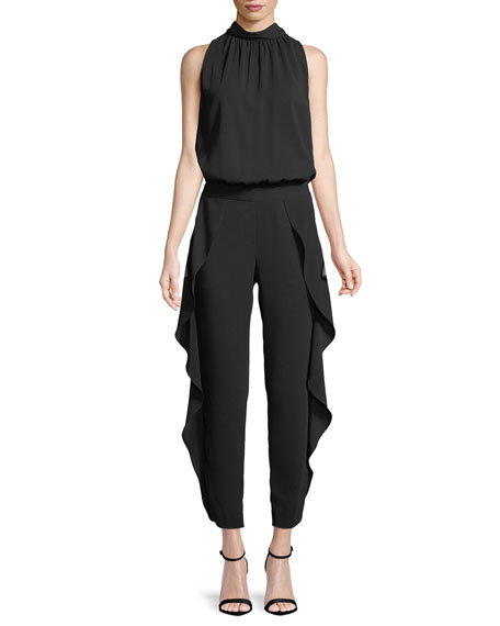 Sleeveless Mock-Neck Ruffled Jumpsuit