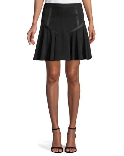 Tape-Detail Flounce Skirt