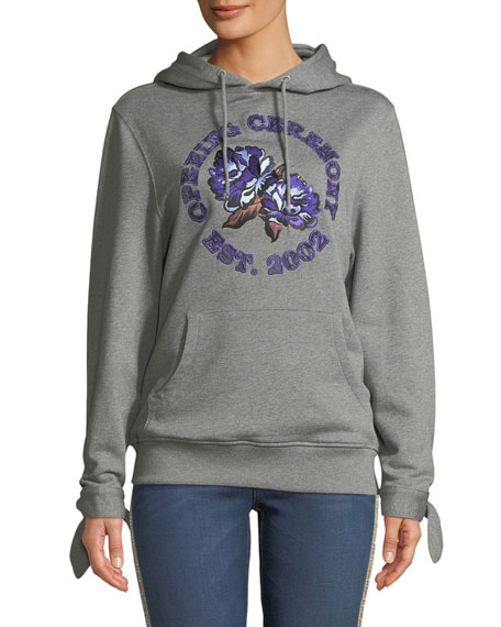 Embroidered Logo Graphic Hoodie Sweatshirt