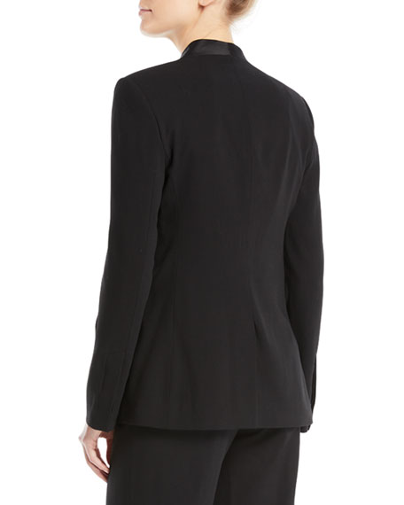 Long-Sleeve Open-Front Wool Tux Blazer
