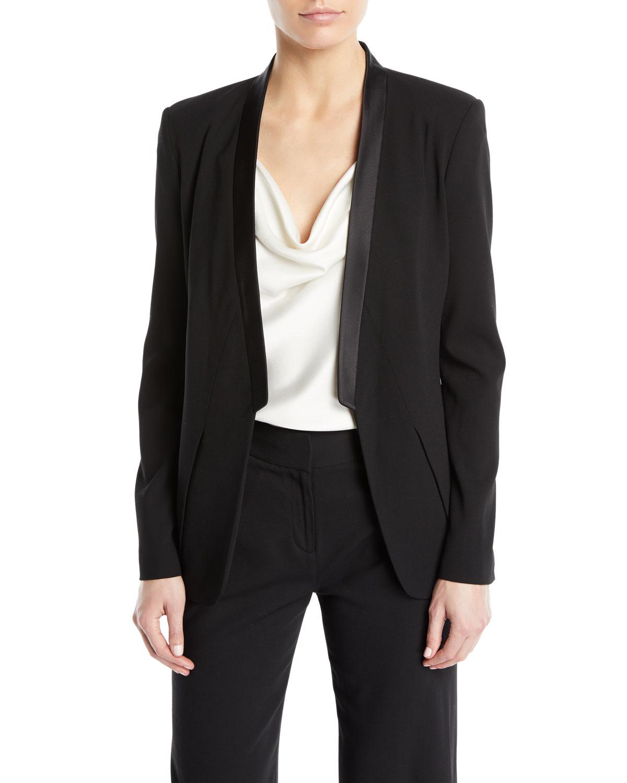 f5b42ba362a0 Halston Heritage Long-Sleeve Open-Front Wool Tux Blazer | Neiman Marcus