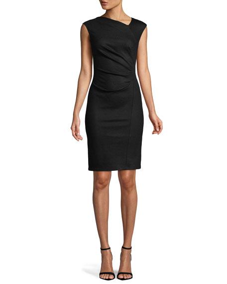 Asymmetrical Neck Sheath Dress
