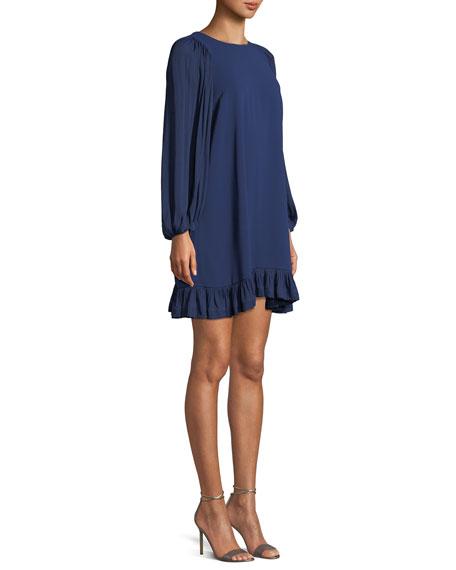 Blouson-Sleeve Ruffled Shift Dress
