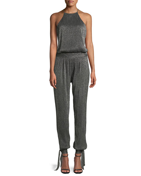 Halter Top Metallic Jumpsuit