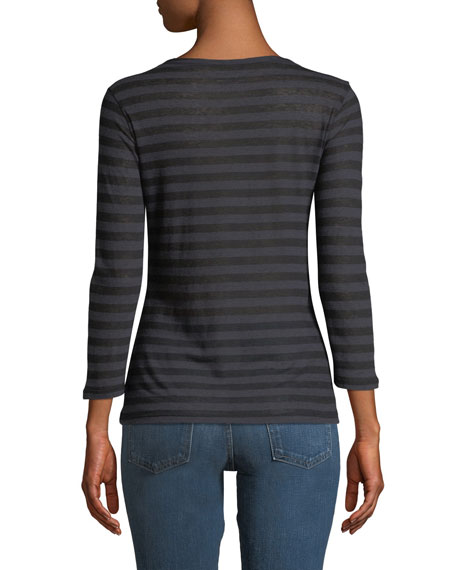Striped Cotton-Cashmere Long-Sleeve Top