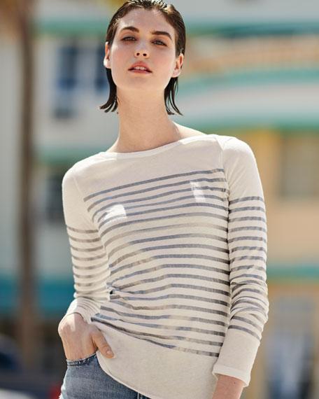 Metallic-Stripe Cotton-Cashmere Long-Sleeve Top