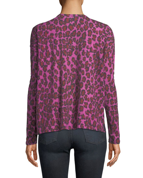 Leopard-Print Long-Sleeve V-Neck Top