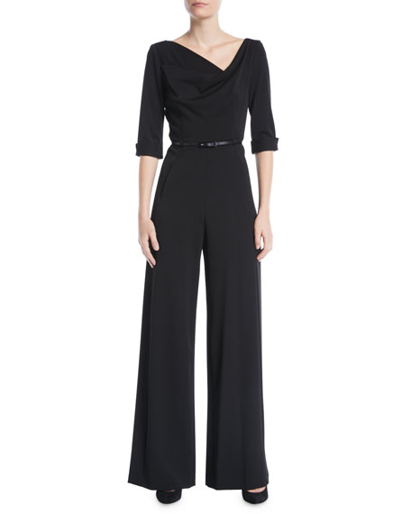 Black Halo Jackie Jumpsuit w/ Three-Quarter Sleeves