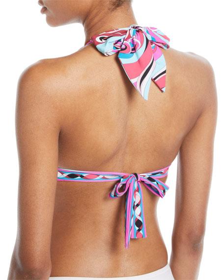 Parrot-Printed Halter Bikini Swim Top