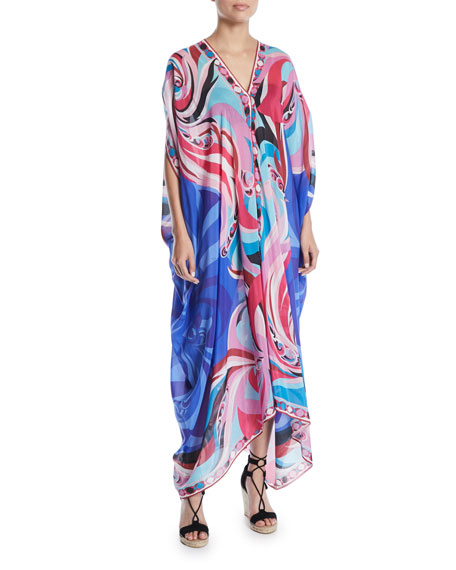 Parrot-Printed Cotton-Silk Kaftan Coverup