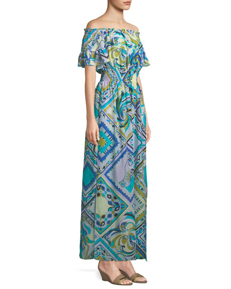 Postcards-Printed Cotton/Silk Coverup Maxi Dress