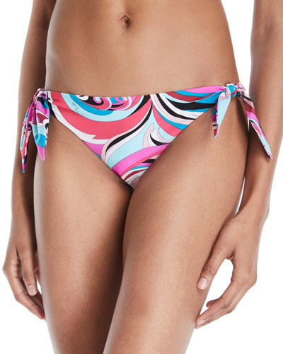 Parrot Printed Side-Tie Hipster Bikini Bottoms
