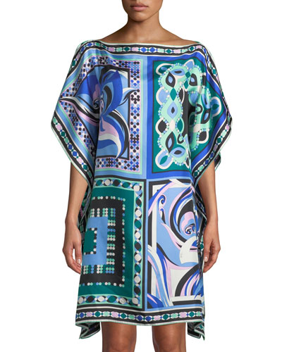 Postcards And Pop Printed Silk Twill Kaftan Coverup