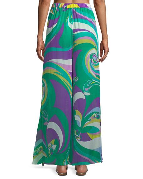 Parrot-Print Silk Wide-Leg Coverup Pants