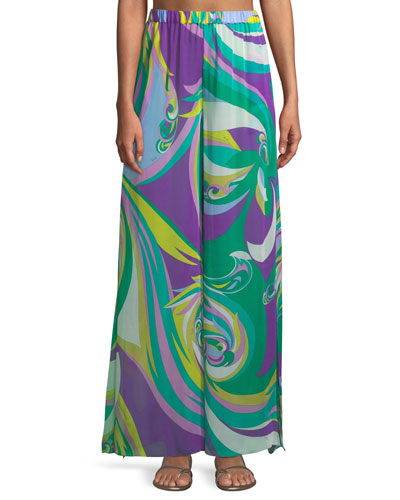 Parrot-Print Silk Wide-Leg Coverup Pants