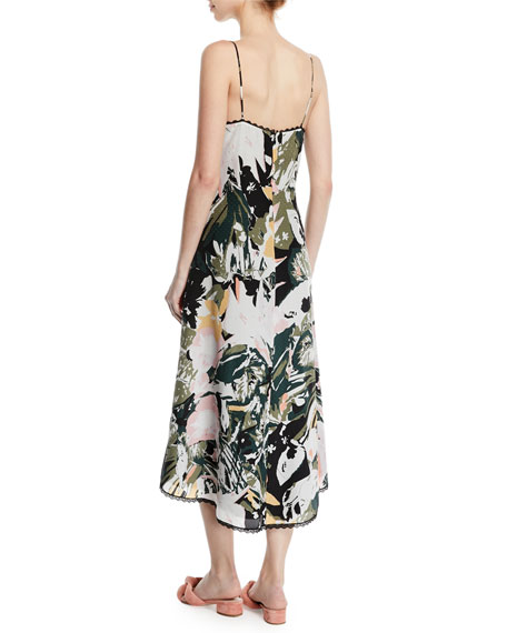 Kittrick Floral-Print Silk Midi Dress