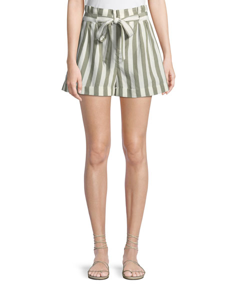 Club Monaco Anree Striped Tie-Front Shorts