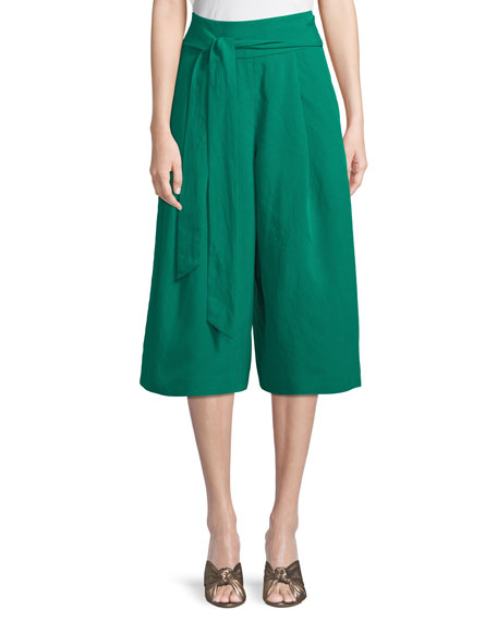Club Monaco Arlyanna Belted Cropped Wide-Leg Pants