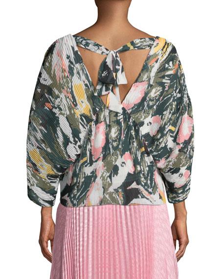 Whitean Crinkle Floral-Print Top