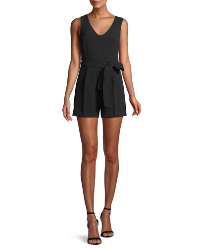 Madria Belted Sleeveless Romper