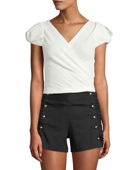 Club Monaco Lannah Wrap Cap-Sleeve Top