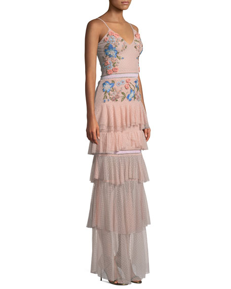 Embroidered Tiered Ruffle Gown