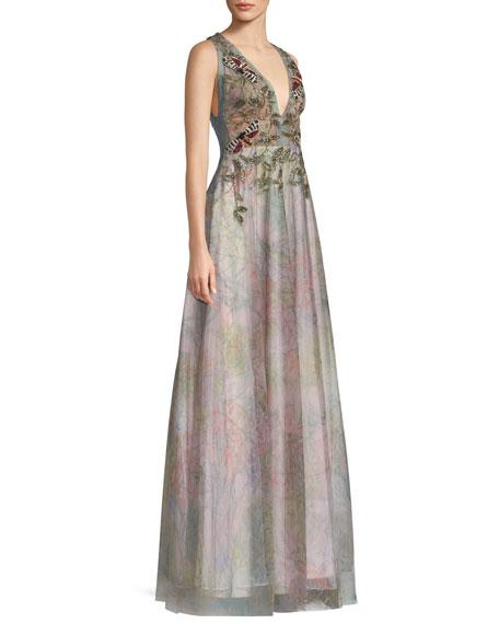 Floral Tulle V-Neck Gown
