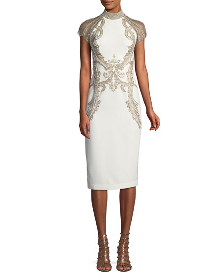 Embroidered Cut-In Illusion Dress