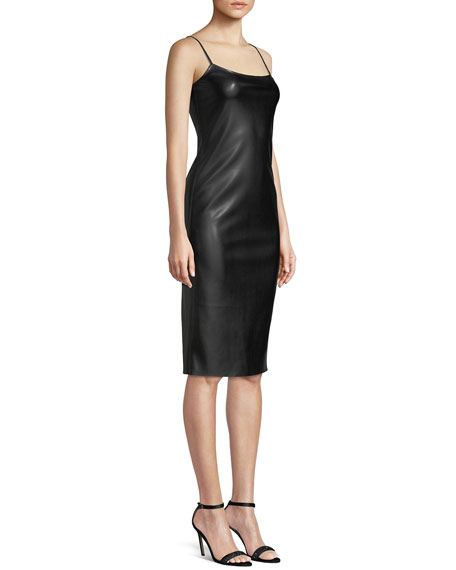 Sleeveless Bedford Faux-Leather Skinny Slip Dress