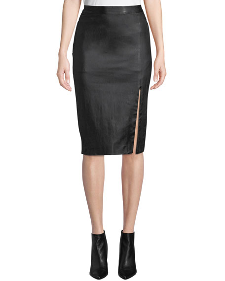 Theory Bristol Leather Zip-Front Pencil Skirt