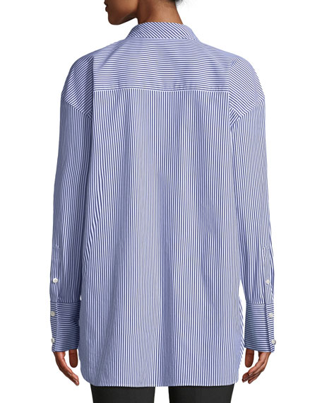 Weekender Tie-Neck Button-Down Long-Sleeve Franklin Stripe Shirt